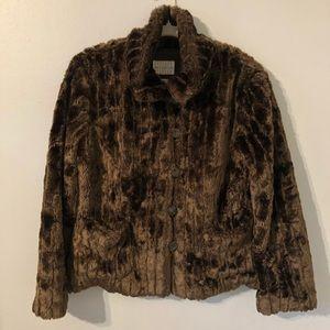 White Stag Faux Fur Brown Jacket